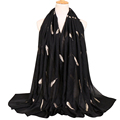 Europe style fashion hijab bulk head scarves feather embroidered shawl hijab