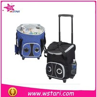 hard or soft 50L rolling cooler that has Bluetooth compatible speakers