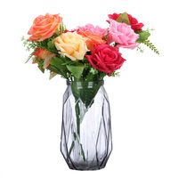 Colorful Creative Fashion Living Room Decorative Lily Flower Vase Rose Diamond Glass Vases