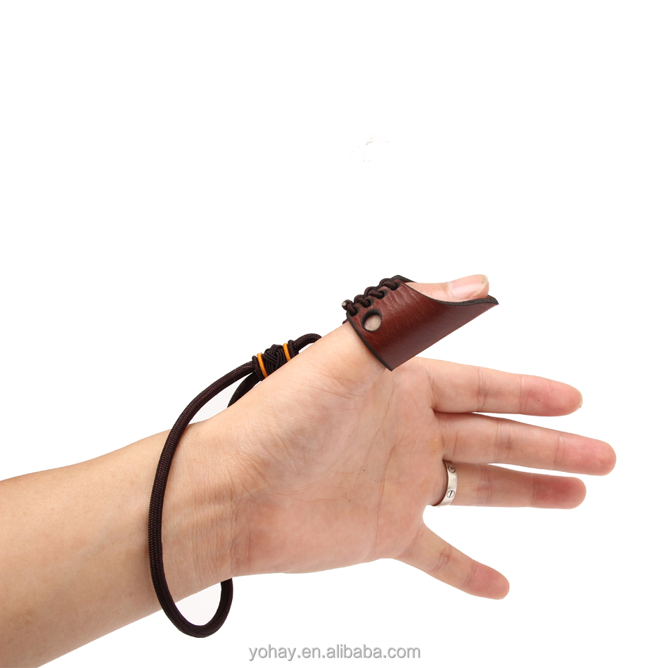 Cattlehide Finger Protector Leather Jadeite Thumb Ring for Pull Bowstring Archery Accessory.