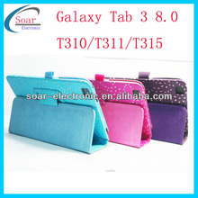 hot selling leaf diamond leather case for samsung galaxy tab3 8.0 t310 t311 t315