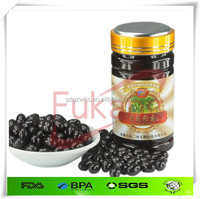 200cc black wide-mouth PET plastic medicine bottle packaging grape seed essence capsule with label printing