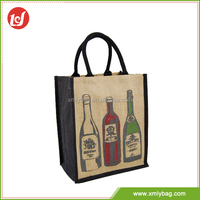 Durable wine supermarket jute cheap printed shopping bags