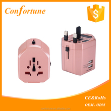 Hot selling alibaba universal world wide travel charger adapter plug with dual usb
