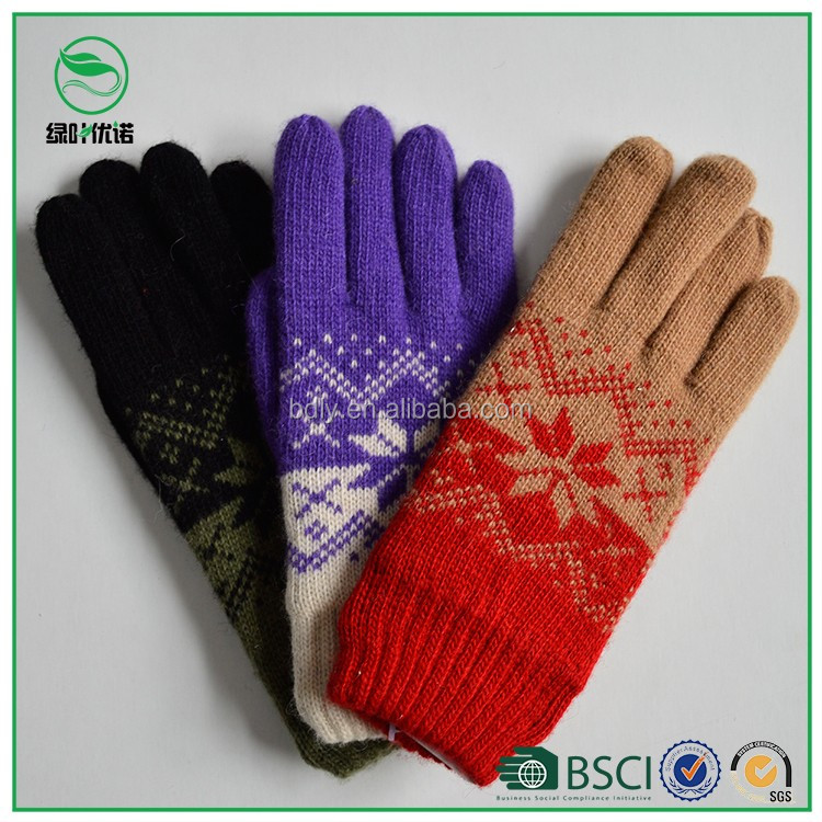Ladies jacquard snowflake acrylic knitted hand gloves