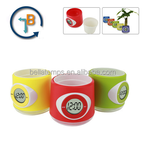 Flower pot with Digital clock
