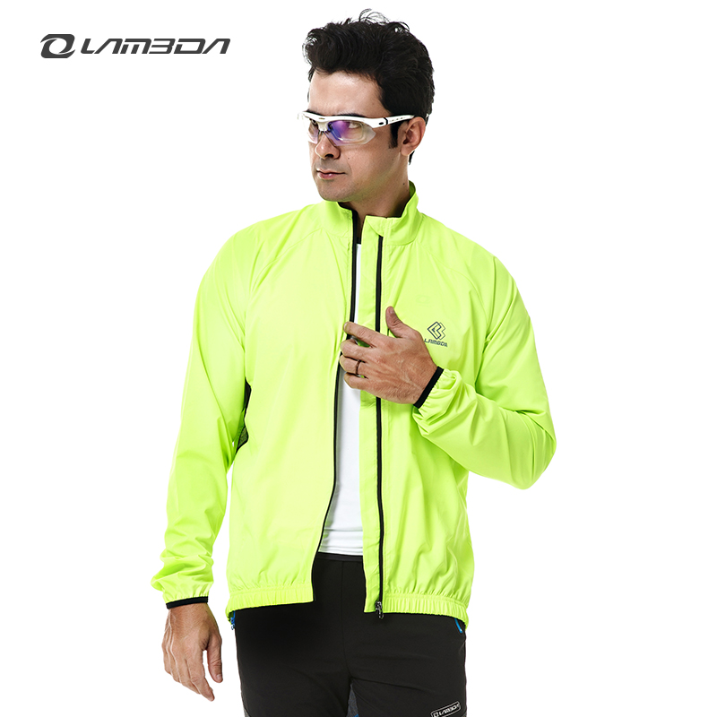 LAMBDA man windproof waterproof fluorescence green cycling windcoat OEM/ODM pro bike wear sports