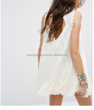 Women Summer Bohemian Casual Wear, Swing Style Ivory Top Woven Lace Cotton Mini Dress