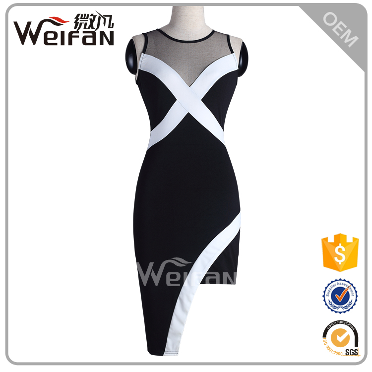 2016 Guangzhou Clothes O Neck Sleeveless Black Club Wear Short Party Ladies Formal Dress Patterns