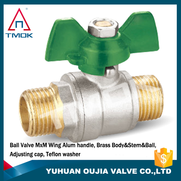 High pressure plus 20 Green Butterfly handle double male thread of high quality gas forged brass ball valve