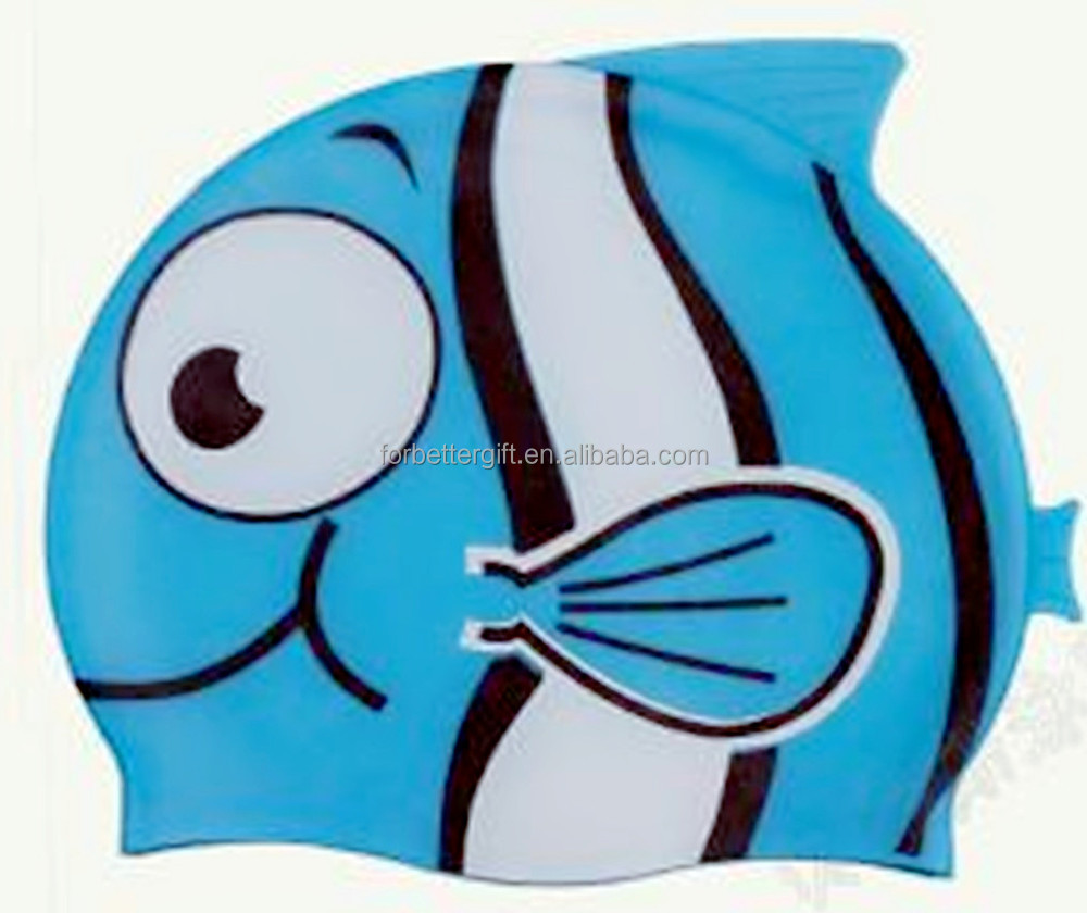 Custom Funny Fish Swimming Caps/100% Silicone Swimming Caps/High Quality Silicone Swim Caps