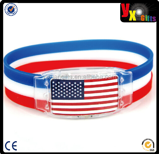 LED lamp Wristband with national flag For world cup Sports Bracelet Souvenir Soccer Wrist Strap