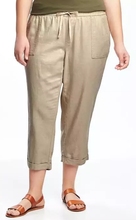 Wholesale Women Fashion Relax Mid Rise Breathable Linen Blend Plus Size Cropped Fashion Baggy Pants
