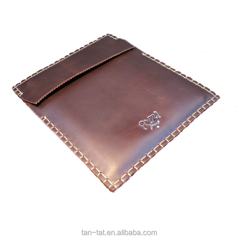 Genuine Cow Leather Laptop Sleeve File Folding Messenger Bag