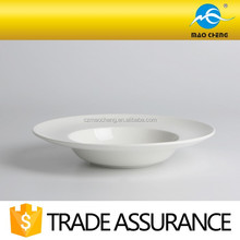 "10.5"" round white durable ceramic hat soup plate"