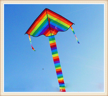 high quality rainbow kite Outdoor Fun Sports kite Factory Child Triangle Color Kite