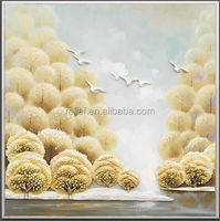 3D resin tree and birds romantic style oil painting for home decoration gift metal leaf wall art natural beauty oil painting new