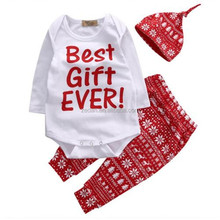 Christmas Outfits Baby Funncy Style Long Sleeve Latest Designs Suits 3PCS Rompers With Pants Matching Hat