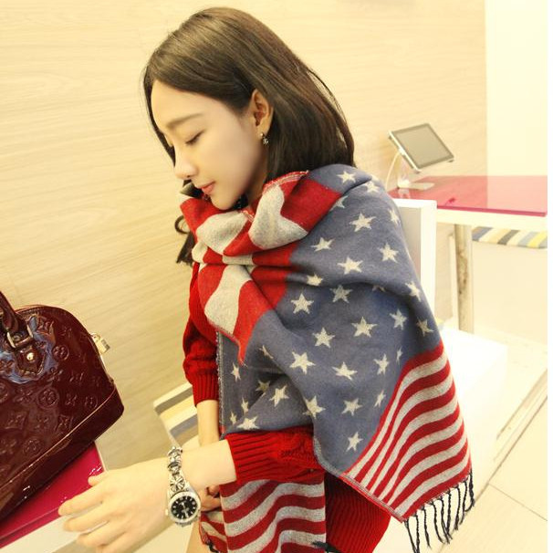 wholesale small order stock blanket american flag <strong>scarf</strong> for women