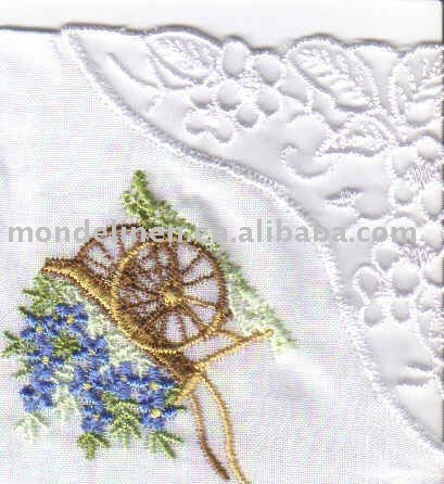 Piping handkerchief napkin with embroidery