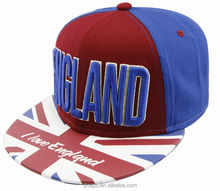 England 3D embroidery name country flag hat with flat round brim