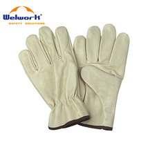 Shirred elastic back adjustable safety gloves pig grain leather driver gloves