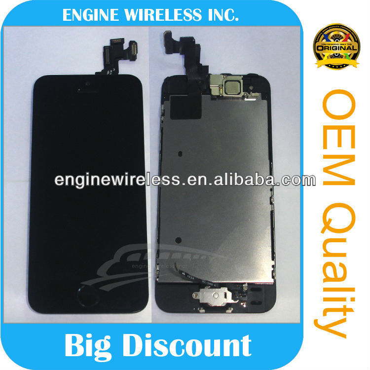 wholesale for iphone parts for Apple Iphone 5S LCD Display + Touch Screen Digitizer Panel Front Glass Black
