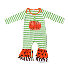 Wholesale Baby Clothes Baby Jumpsuits Cotton Green Stripe One-Piece Garment