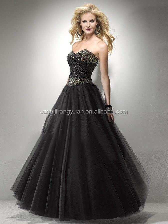 SJ1882 sweetheart ankle length tulle crystal beaded black ball gown evening gown