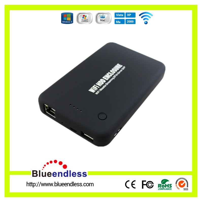 2.5 Inch USB 3.0 to SATA Wireless 300Mbps Router 4000mAH Li-po Battery WiFI HDD Case