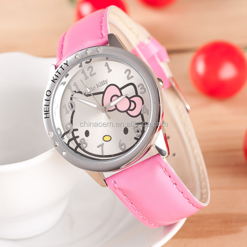 Hello Kitty Lady's Children Desighed Children Gift Pink Cute Wrist Hand Watch