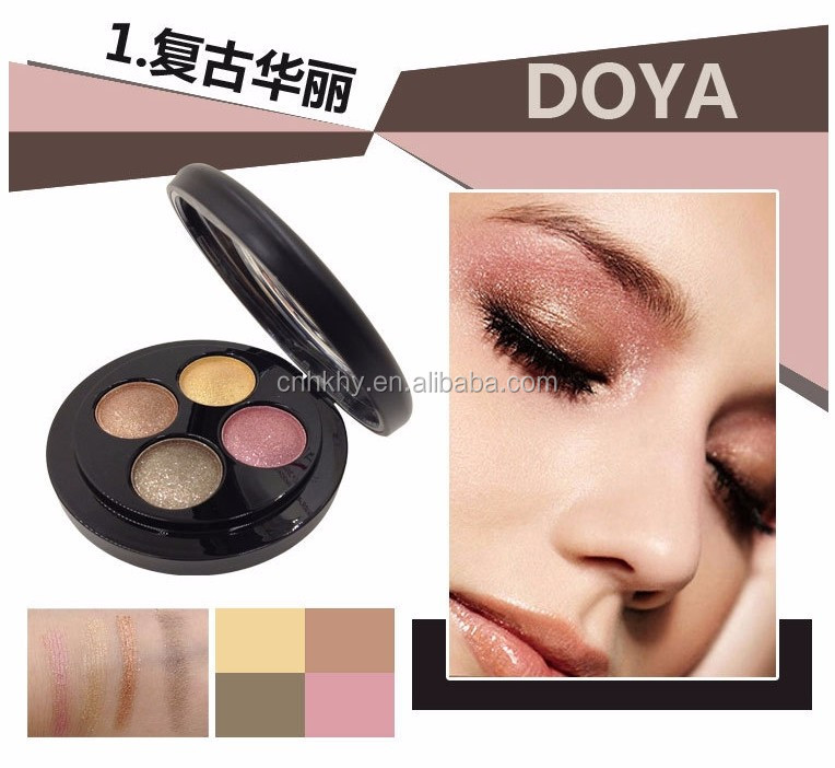 QBEKA New Makeup Set 4 Color Gilliter Eyeshadow Palette Make Up Pigment Eye Shadow with Brush Cosmetics Kit for Party 90D