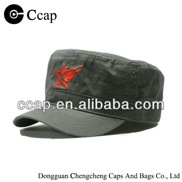 Popular retro 100% cotton flat top star military cap army hat