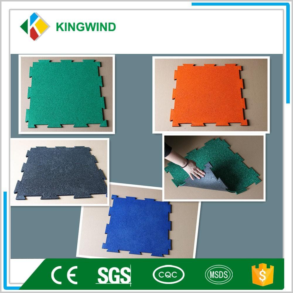 Recycled rubber floor tiles