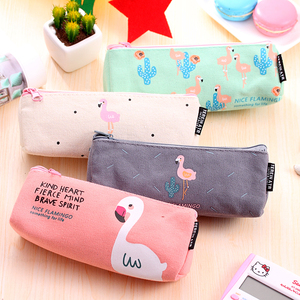 Pencil bag of inverted trapezoid Flamingo student stationery bag