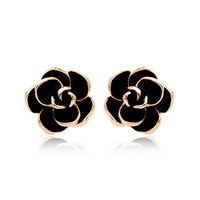 Italina fashion cheap alloy rose flower stud earring with black essential oil, kids earring jewelry