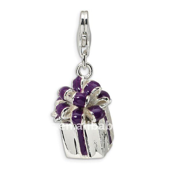 silver purple enamel gift box charms/pendants for DIY jewelry with lobster clasp