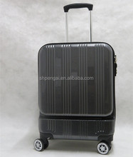 abs+pc material trolley luggage with front easy open access laptop pocket luggage 20``inch size