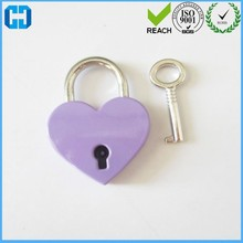 Factory Progressive Die Stamping Purple Large Heart Shape Padlock With Key