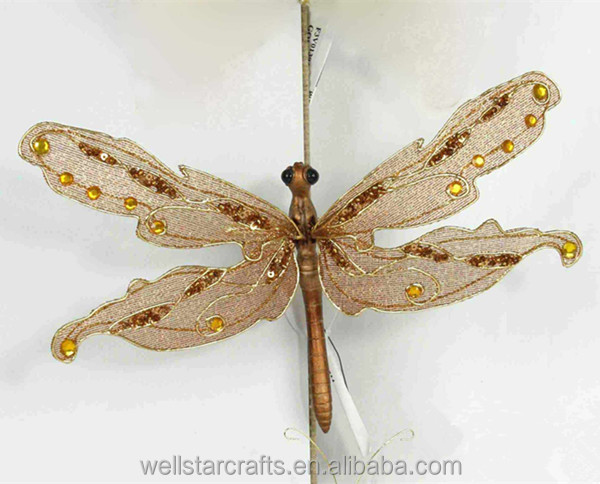 Artificial Glittered Christmas plastic Dragonfly Ornaments ,dragonfly crafts for garden decoration