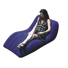 Blue PVC flocking sofa inflatable chesterfield air lounger sofa for home