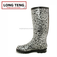 leopard pattern handmade waterproof and cool color for women rain boots