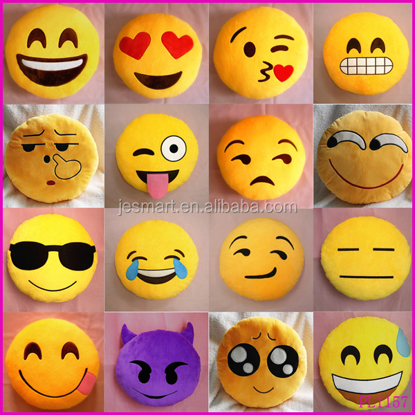 Soft Funny Emoji Smiley Emoticon Yellow Round Cushion Pillow Stuffed Plush Doll Toy Home Decoration