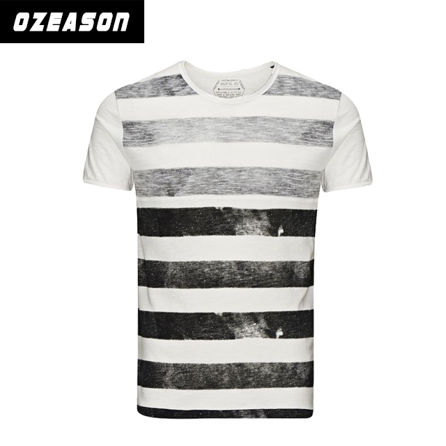 Men's fashionable slim fit black and white striped t-shirt wholesale