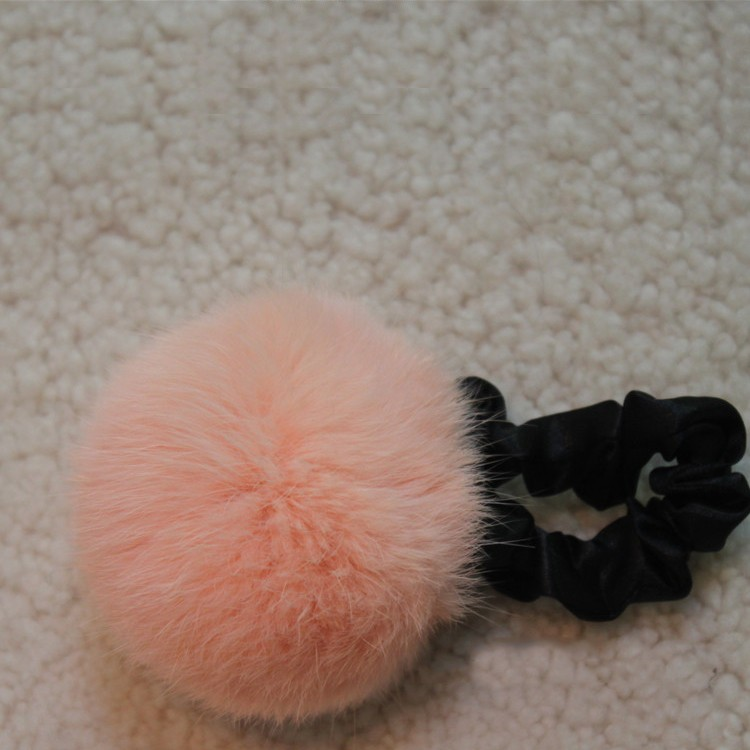 Angora rabbit fur ball hair bands Hair Accessory