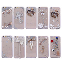 mobile phone bling diamond case for iphone 6, for iphone 6plus case transparent