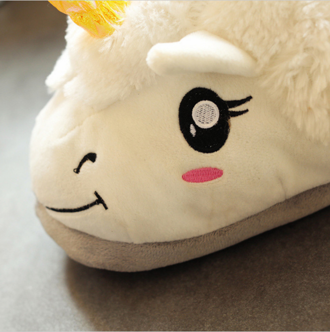 Hot sale factory wholesale Indoor Winter slippers animal shaped plush Unicorn slipper
