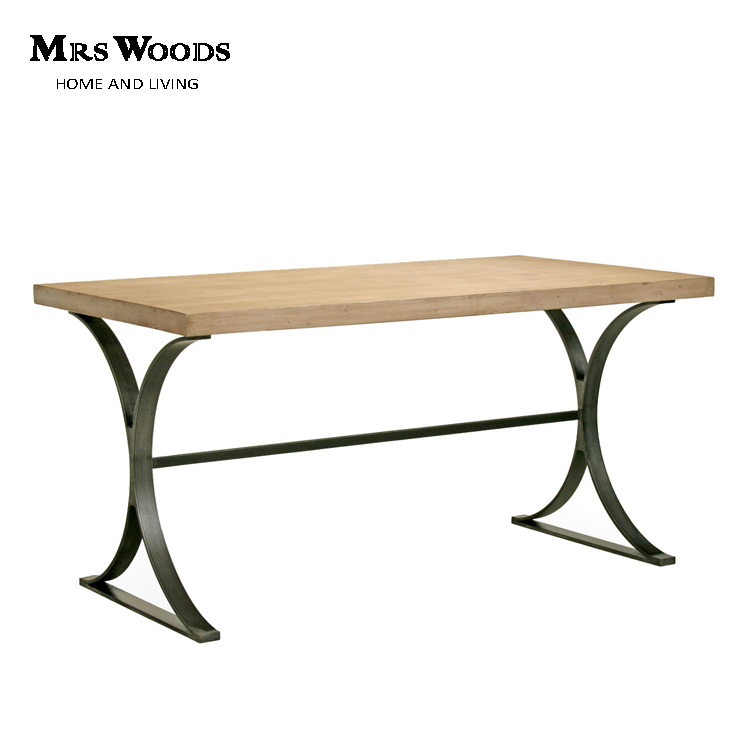 Industrial Wooden Top Metal Legs Base Writing Desk