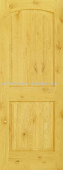 knotty alder arch two panel v groove door