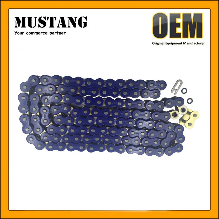 Non O-Ring Drive Chain Gold Blue Color 520 x120 ATV Motorcycle 520 Pitch 120 Links